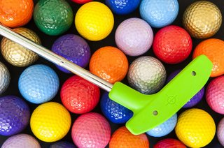 Green Mini Golf Putter with Colorful Golf Balls