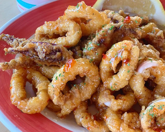 Cropped for website use - Crab Trap Sweet and Spicy Calamari with Cocktail_Vertical.jpg
