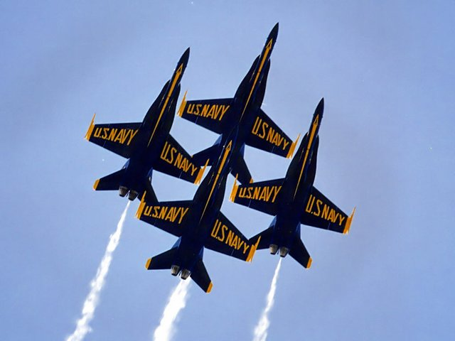 The Blue Angels fly in Pensacola, Florida